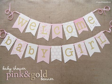 baby welcome home decoration pink and gold baby shower banner welcome baby girl