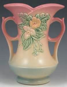 hull pottery wildflower vase pink blue 8 inch