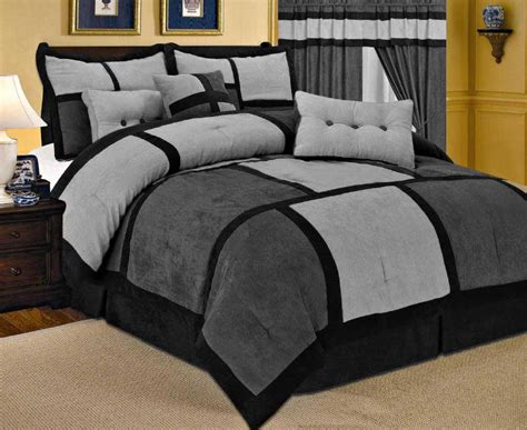 black and gray comforters 23 pc gray comforter curtain black sheet set micro suede