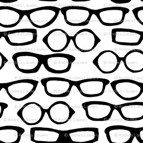 Print Glasses glasses white and black by andrea fabric andrea