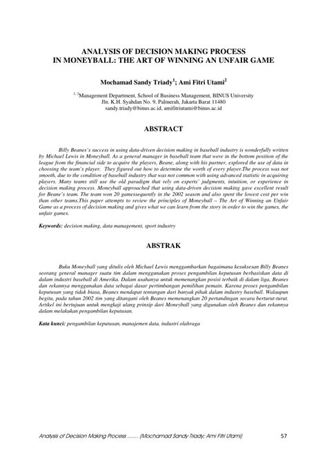 (PDF) Analysis of Decision Making Process in Moneyball