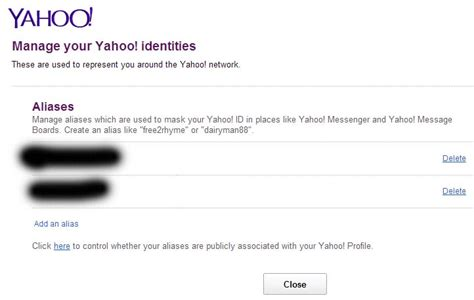 yahoo email alias delete or remove your yahoo id alias jcyberinux
