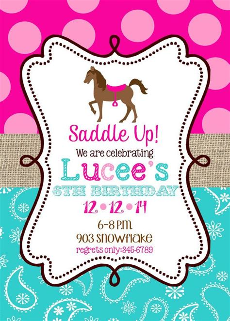 printable birthday invitations horse theme horse birthday party invitations printable or digital file