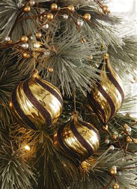 gold chocolate brown glitter swirl christmas ornaments