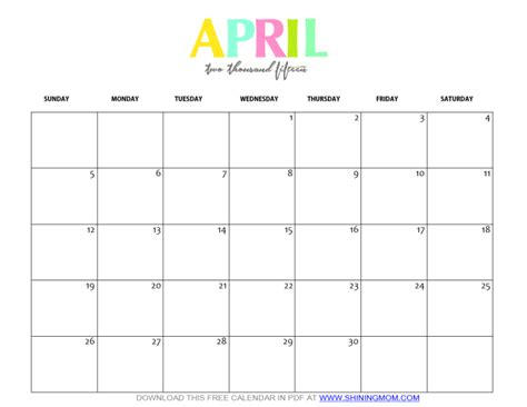 2015 April Calendar Printable Free Printable April 2015 Calendar By Shining