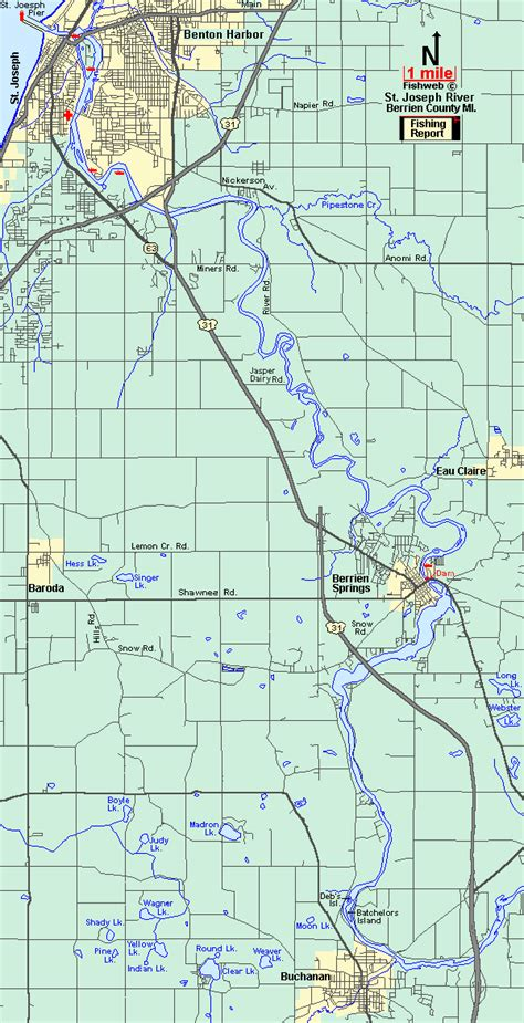 st river map st joseph river fishing report at berrien springs all about fishing