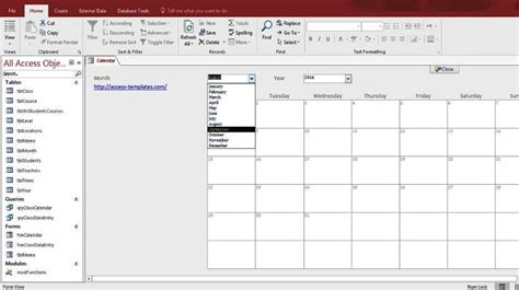 Ms Access Html Template by Microsoft Access Calendar Form Template Free