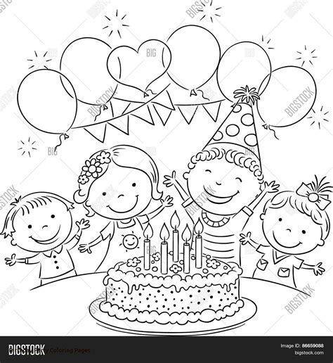 birthday party coloring pages selfcoloringpages of