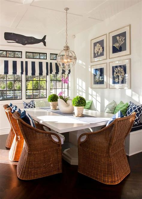cottage breakfast nook  wicker dining chairs