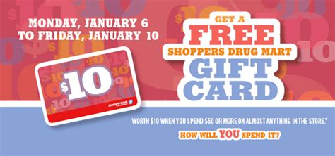 Shoppers Drug Mart Gift Card Promotion - shoppers drug mart promotions get a free 10 shoppers gift card on your purchase of
