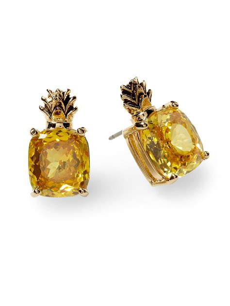 Asos Pineapple Stud Earrings couture cz pineapple earring in gold lyst