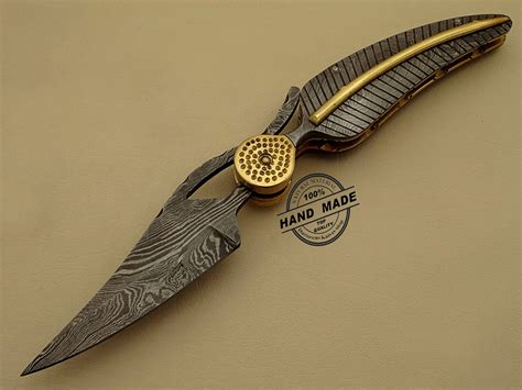 Handcrafted Knives - professional damascus folding knife custom handmade damascus