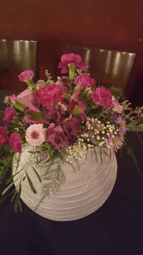 Paper Lantern with Flowers Centerpiece   wedding ideas in