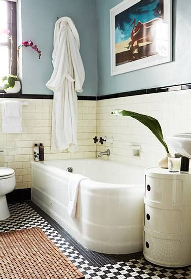 Black White And Blue Bathroom by Grey Blue Walls White And Black Subway Tile Rafe