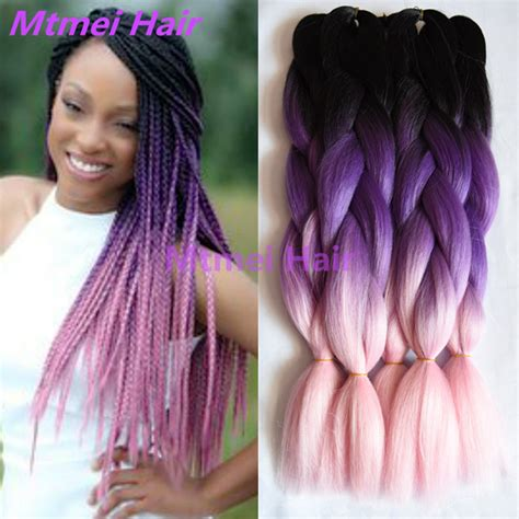 purple ombre braiding hair black purple light pink ombre kanekalon braiding hair 24