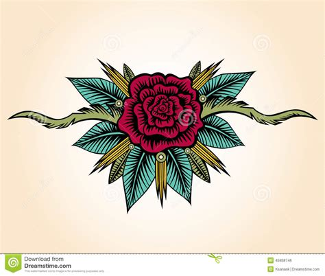abstract rose and thorns tattoo stock vector image 45958746