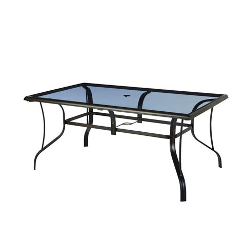 glass top outdoor table hton bay statesville rectangular glass patio dining