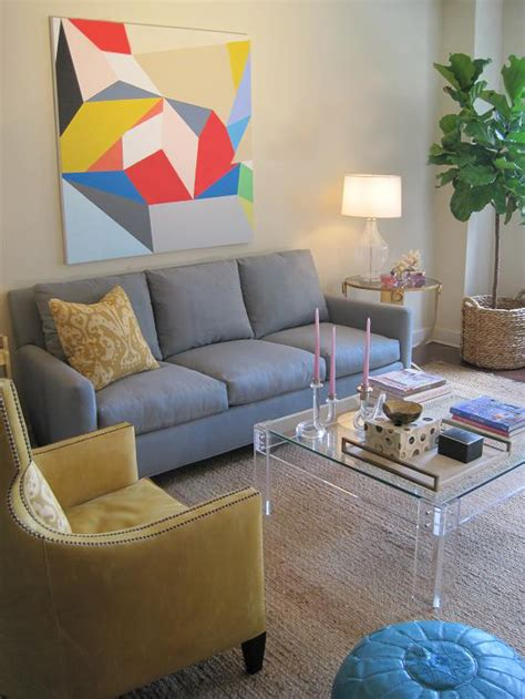 grey couch blue walls coffee table vs ottoman modern living room design grey