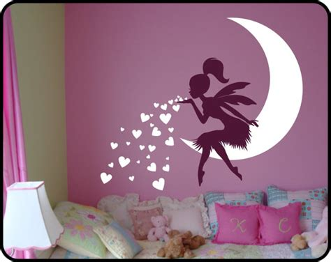 Glow In The Dark Moon Wall Sticker fairy wall decal blowing kisses with hearts vinyl fairy wall