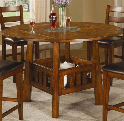 Coaster Lavista Round Square Counter Height Table With Counter Height Dining Table And Chairs With Lazy Susan