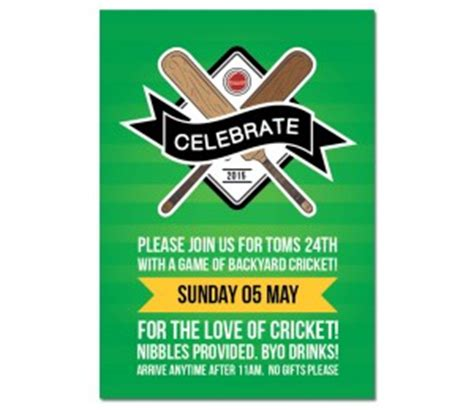 cricket birthday card template birthday invitations paper divas invites