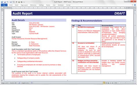 audit findings report template audit findings report sle follow audit findingssop