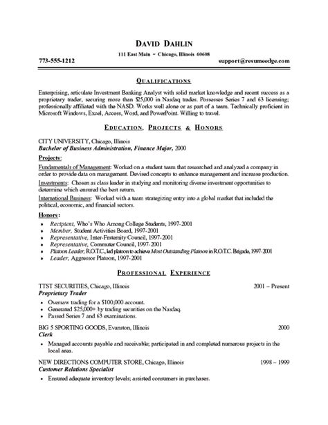 resume format for students student resume exle