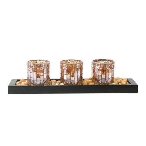 Votive Candle Holder Tray Mosaic Votive Candle Holders On A Wood Tray Yc C013