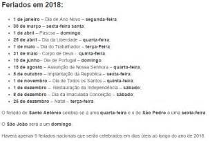 Calendario 2018 Feriados Nacionais Feriados Em 2018 Portugal Economia E Finan 231 As