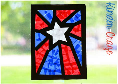 Paper Stained Glass Window Craft - patriotic stained glass window craft family crafts