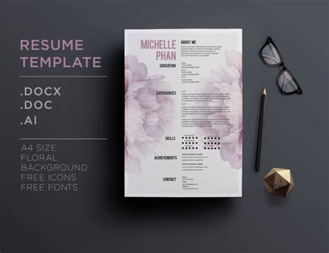 design cv background cv template 1 page resume cover letter by chictemplates
