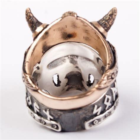 Skull Ring Helmet viking silver skull ring with separate helmet ring made from bronze evilrings
