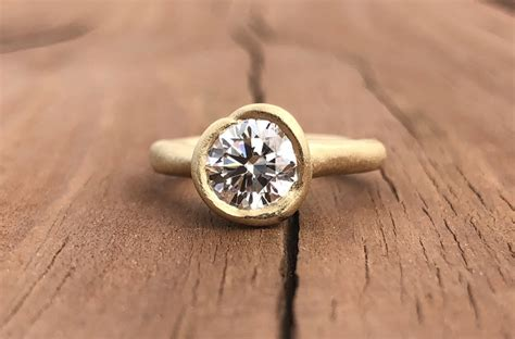 hammered yellow gold lab created engagement ring
