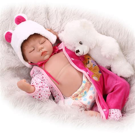 Baby Dolls Pink Slb 105 aliexpress buy new 55cm silicone reborn baby dolls for sales pink with hat rooted