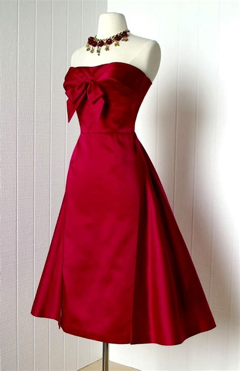 red satin 1950s dress with bow at neckline not a thing