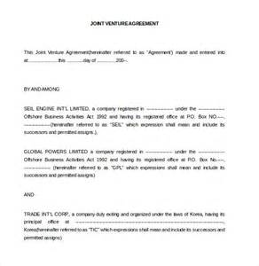 template joint venture agreement sles and templates formated
