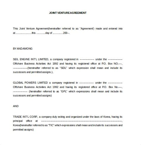 joint venture agreement template doc sles and templates formated