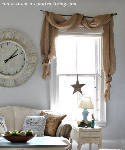 farmhouse decor curtains country decorating style in a farmhouse family room curtain swags made from landscape burlap