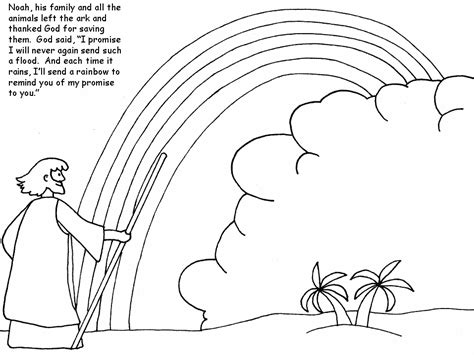 coloring page noah s ark and rainbow noah and rainbow coloring pages