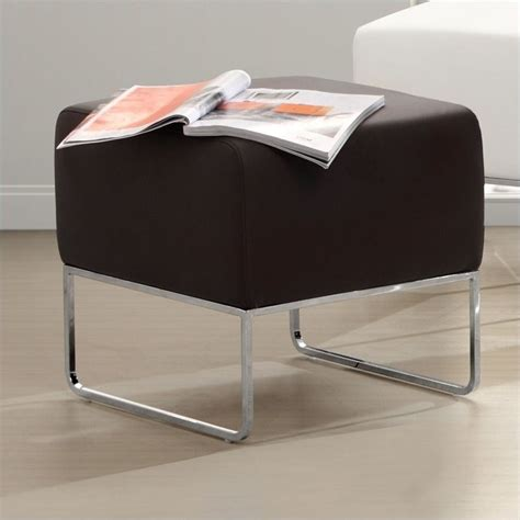 Plush Storage Ottoman Zuo Plush Faux Leather Ottoman In Espresso 103007