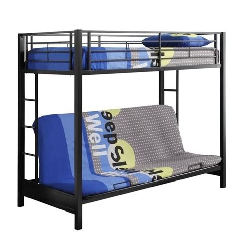 Pemberly Row Metal Twin Over Futon Bunk Bed Frame In Black Metal Frame Futon Bunk Bed