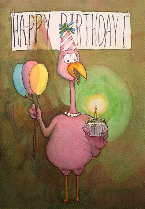 Happy Birthday Pink Flamingo Beautiful Pink Flamingo Happy Birthday Watercolor Cupcake Greeting
