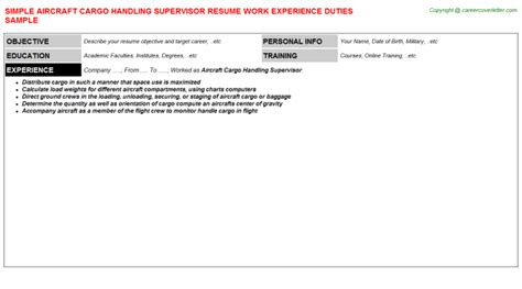 Cargo Supervisor Resume by Aircraft Cargo Handling Supervisor Free Career Templates
