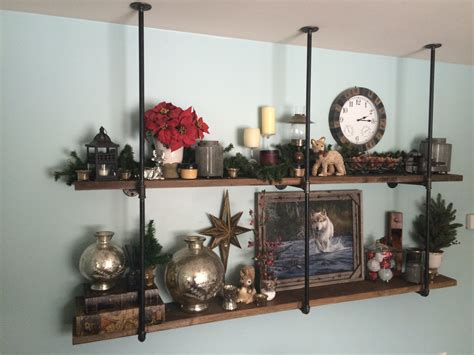 industrial black iron pipe wall shelf by basdesigngroup on