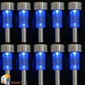 10pcs solar powered blue led steel l light outdoor home