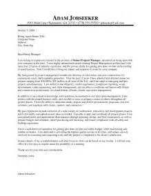 cover letter project management sle cover letter for project manager sle resume format