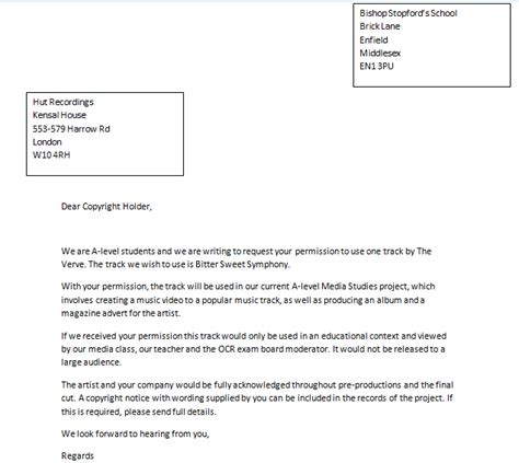 Permission Letter Copyright A2 Media Studies