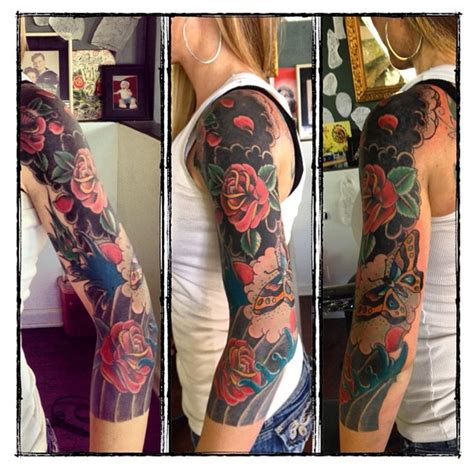 13 roses tattoo parlor luckys downtown san diego traditional sleeve