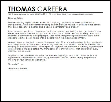 Shipping Coordinator Cover Letter Sample   LiveCareer