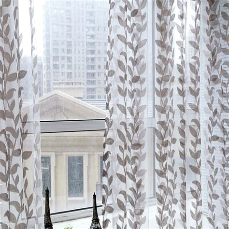 Sheer Printed Curtains Door Window Scarf Sheer Leaves Printed Curtain Drape Panel Tulle Voile Valances In Curtains From